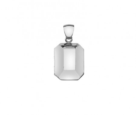 Silver plain puffed rectangle locket 23