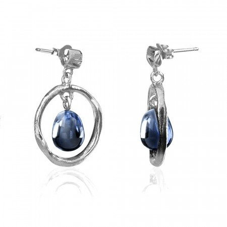 Round branch earrings med London Blue Topaz
