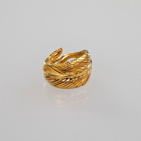 By Me Singel feather ring i 14k forgylt tombak