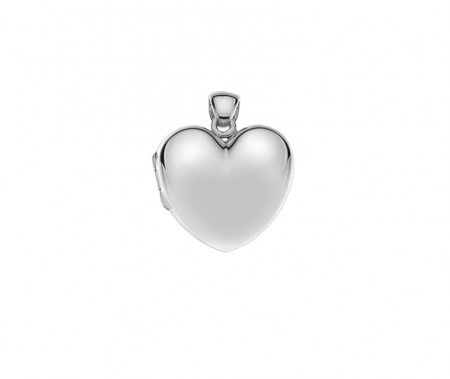 Silver plain puffed LG heart locket 21