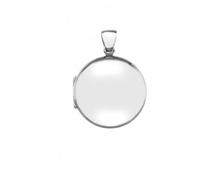 Silver plain puffed round locket 24