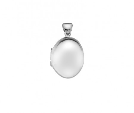 Silver plain puffed med oval locket 20